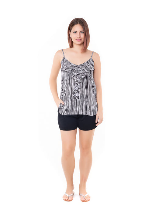 Top Frill - Wave Stripe Black