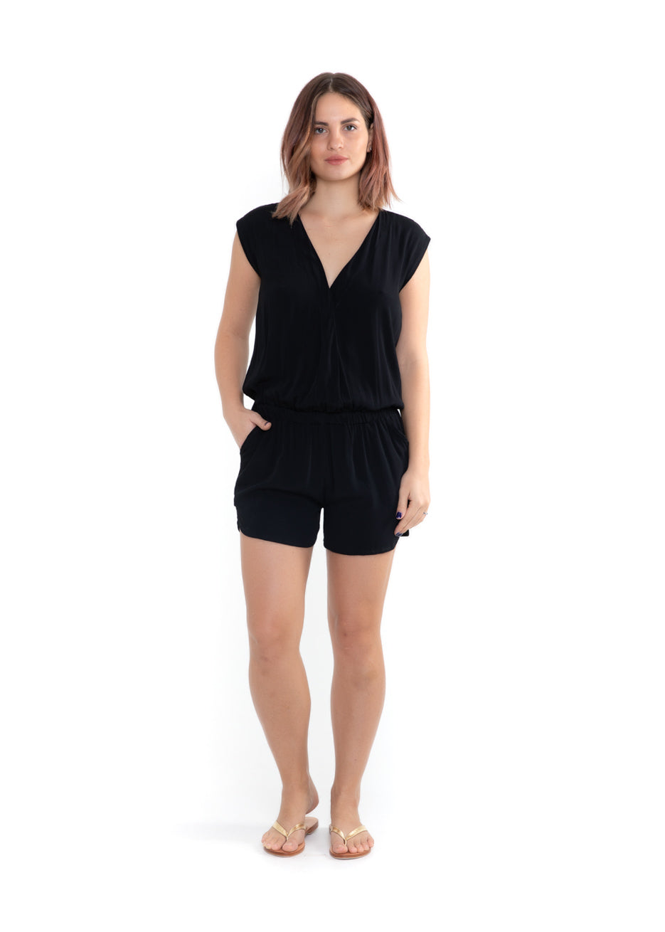 Playsuit V Neck - Midnight Black