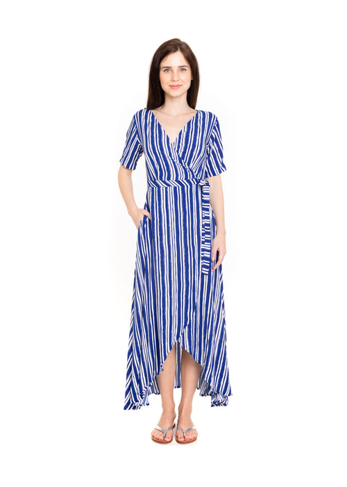 Renae Wrap Dress - Royal Stripe