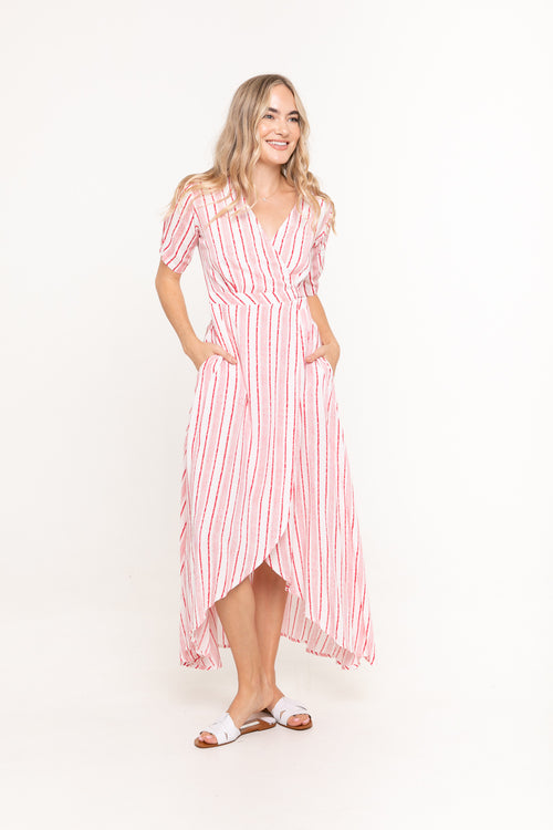 Renae Wrap Dress - Linear Red