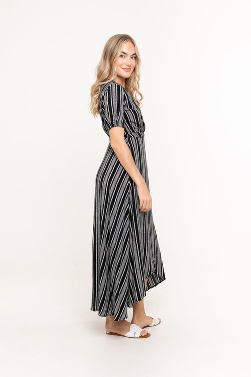 Renae Wrap Dress - Linear Black