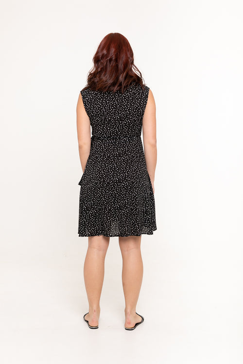 Sandy Wrap Dress - Midnight Polka