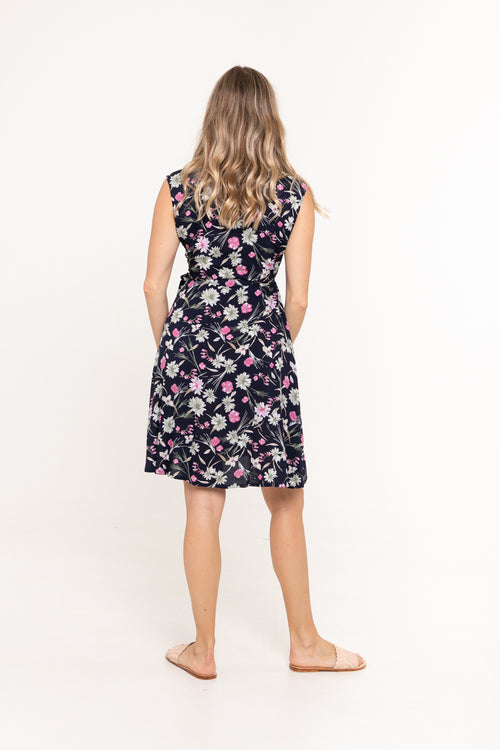 Sandy Wrap Dress - Navy Bloom