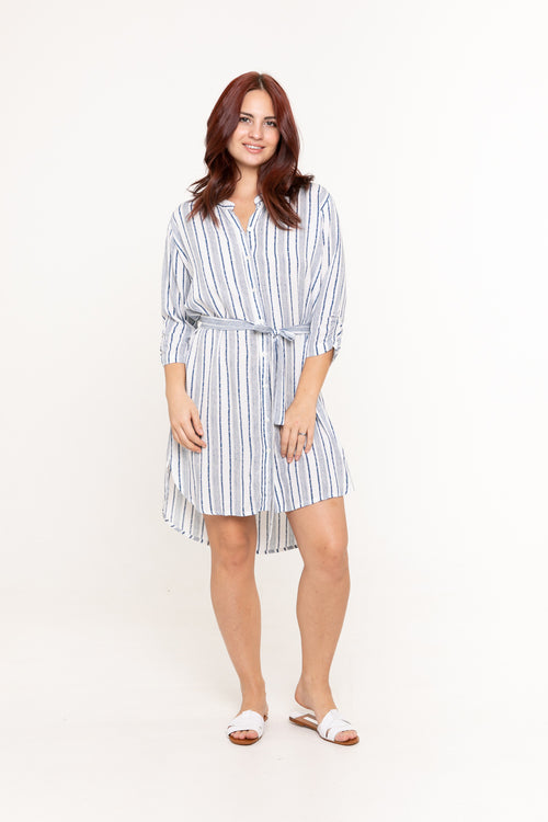 Shirt Dress - Linear Blue