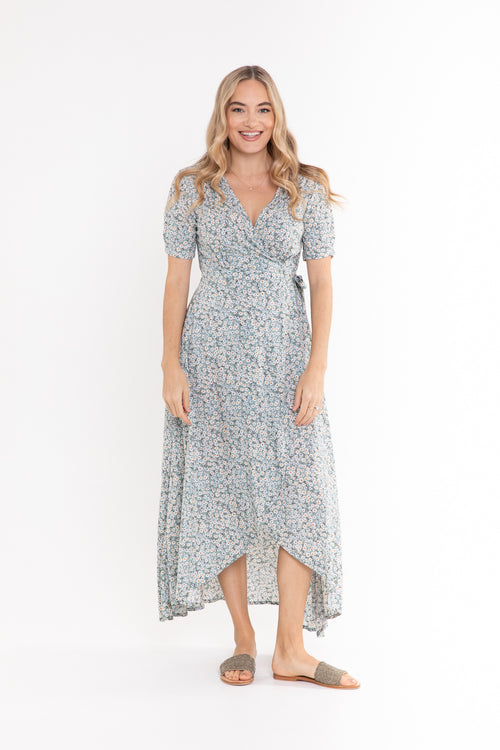 Renae Wrap Dress - Little Mint Daisy