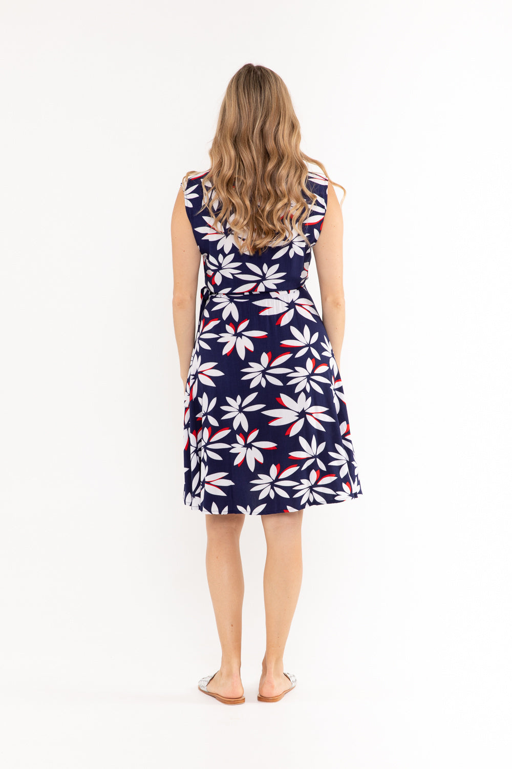Sandy Wrap Dress - Navy Fleur