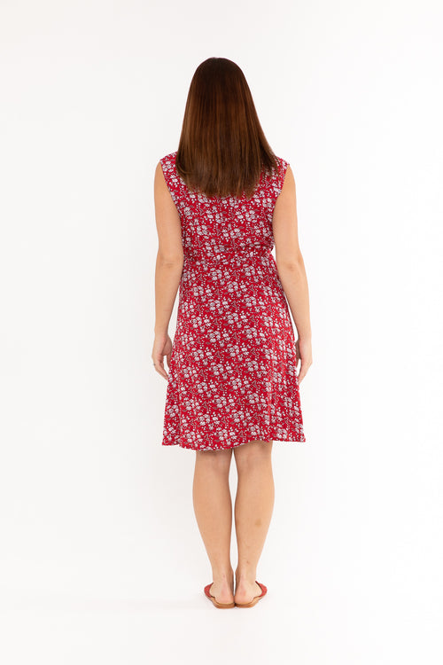 Sandy Wrap Dress - Red Flower
