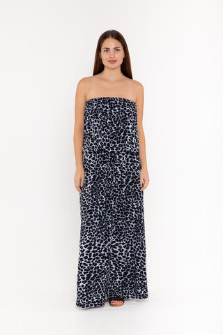 Maxi with belt - Mustard Polka