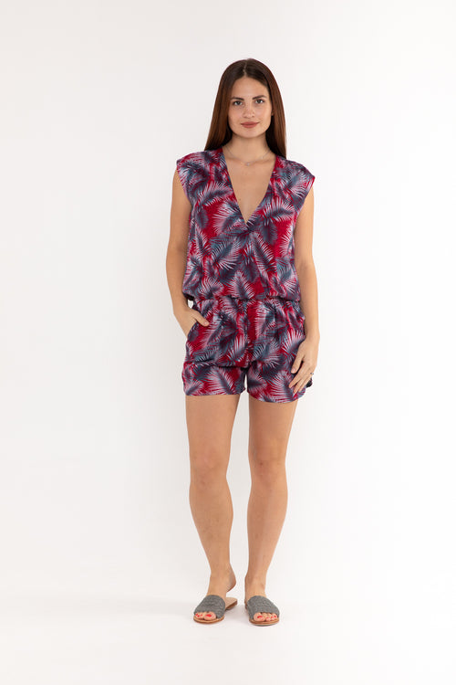Playsuit V Neck - Red & Grey Palm