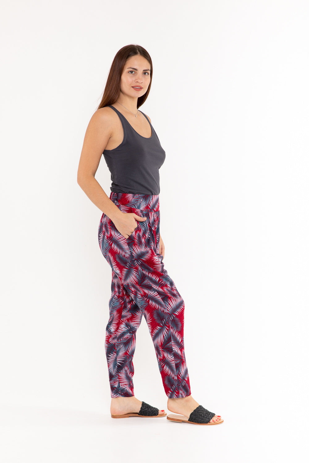 Pant Kelly - Red & Grey Palm