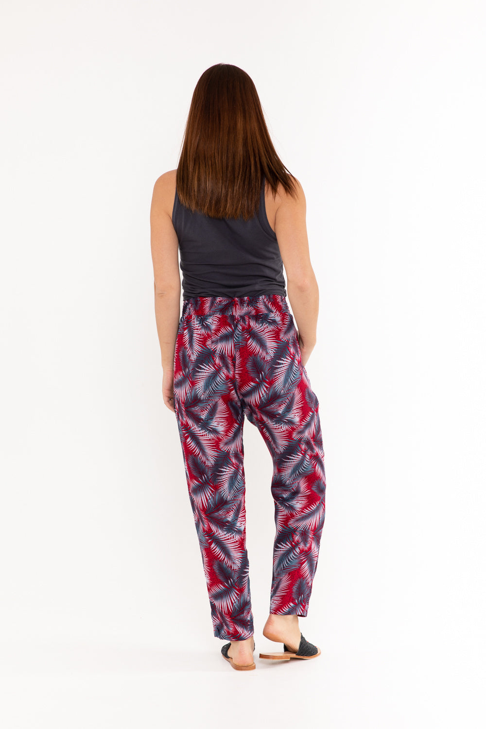 Pant - Red & Grey Palm