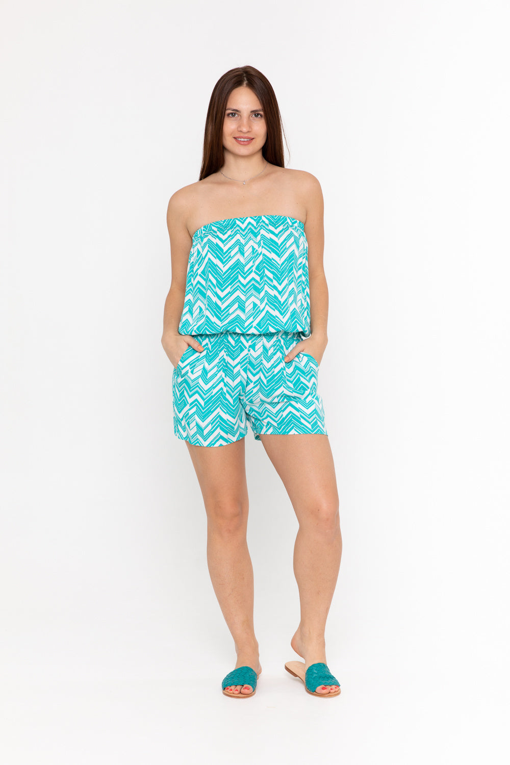 Playsuit Strapless - Sea Breeze