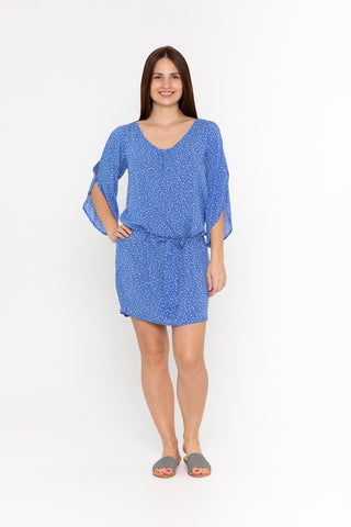 Renae Wrap Dress - Blue Flower