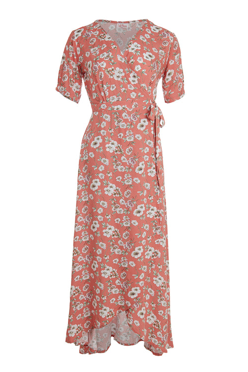 Renae Wrap Dress - Peach Flower