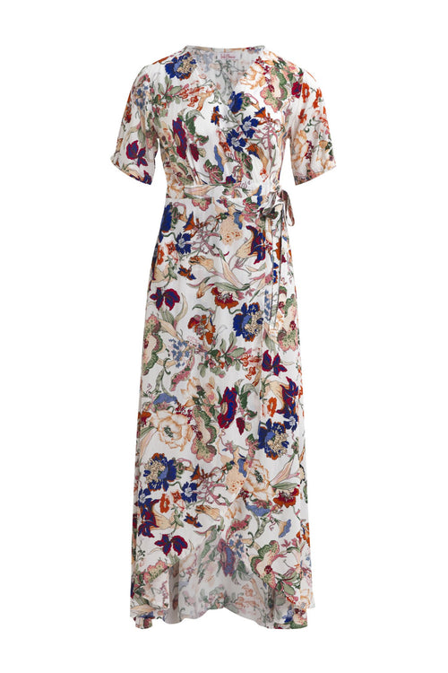 Renae Wrap Dress - Oriental Bloom Cream