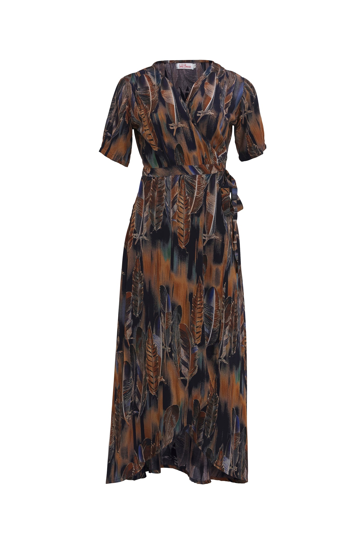 Renae Wrap Dress - Blue Feather