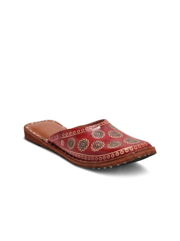 Kolapuri Centre Pure Leather Womens Red Jutis