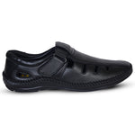 Kolapuri Centre Men's Black Leather Sandals