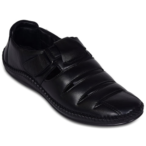 Kolapuri Centre Pure Leather Black Sandals