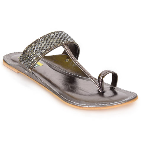 Kolapuri Centre Women's Grey Kolhapuris