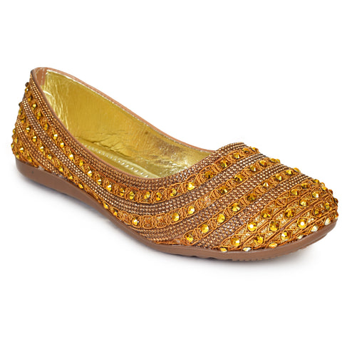 Kolapuri Centre Women's Gold Ballerinas