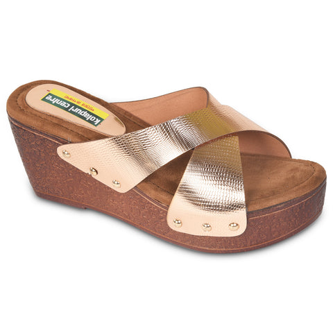 Kolapuri Centre Womens Copper Wedges