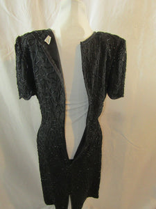 LAURENCE KAZAR Black Silk Beaded Dress - Size Small (Pre-Owned)