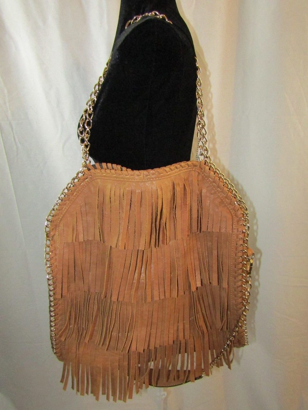 YOKI Tan Leather Fringe Goldtone Chain Shoulder Strap Handbag - NWT