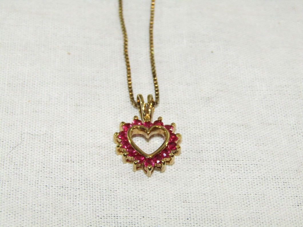 925 Sterling Silver Gold Plated Ruby Heart Necklace - 18