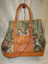 CASLEIGH Brown Tapestry and Leather Handbag