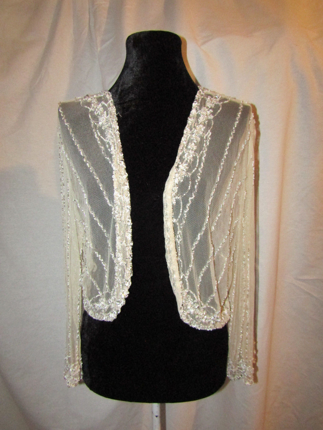 STENAY Woman's Sequin and Beaded Beige Evening Jacket Size 10 NWT