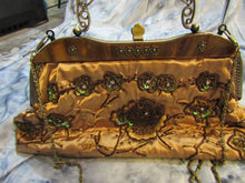 VINTAGE Gold Silk With Sequins and Beading Metal & Chain Handle Handbag EUC