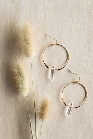 Clear Quartz Hoop - Healing