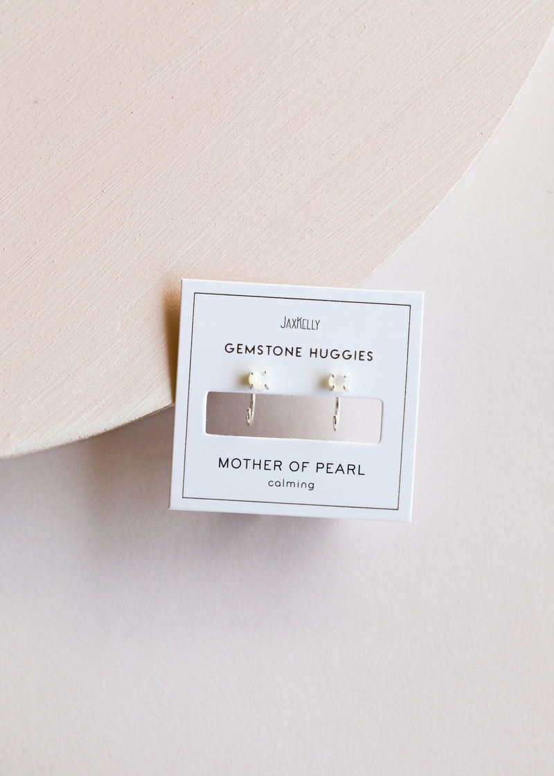 Silver Mother of Pearl Huggies - Calming