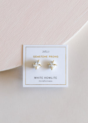 White Howlite Gemstone Prong - Mindfulness