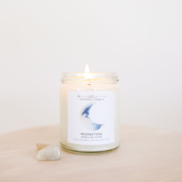 Moonstone Crystal Candle - Brings Good Luck 1