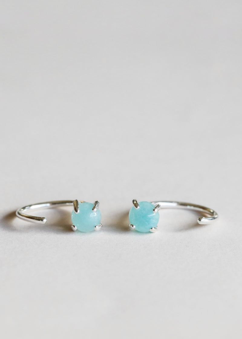 Silver Amazonite Huggies - Hope