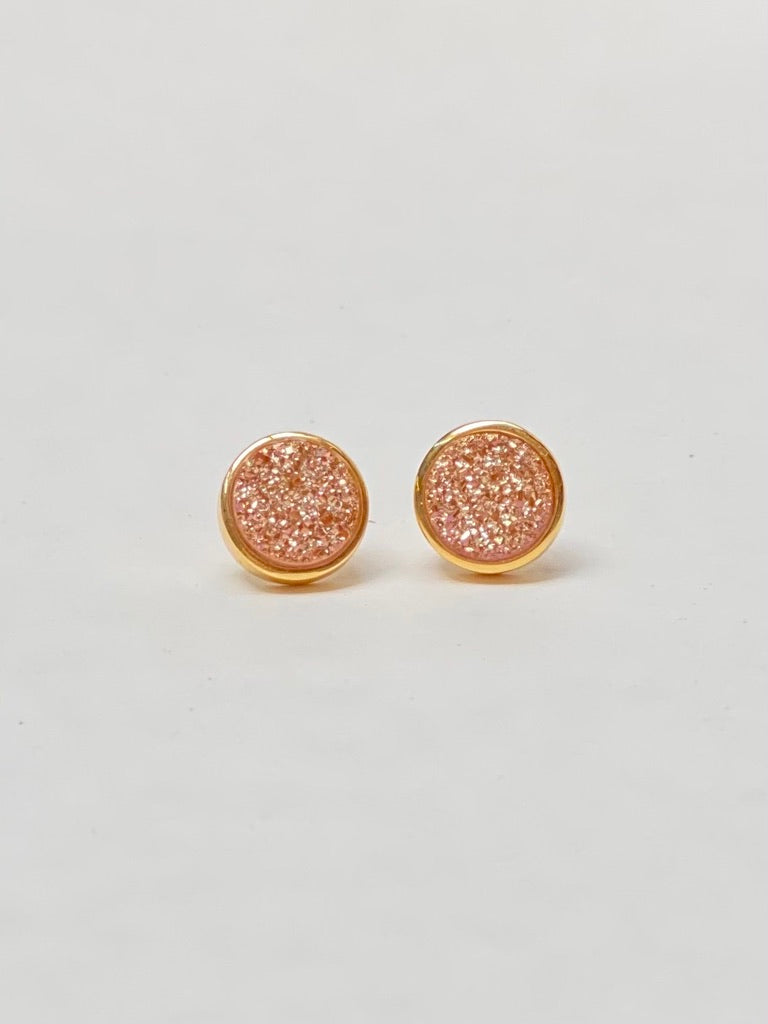 Rose Gold Bezel Cluster Druzy Earrings