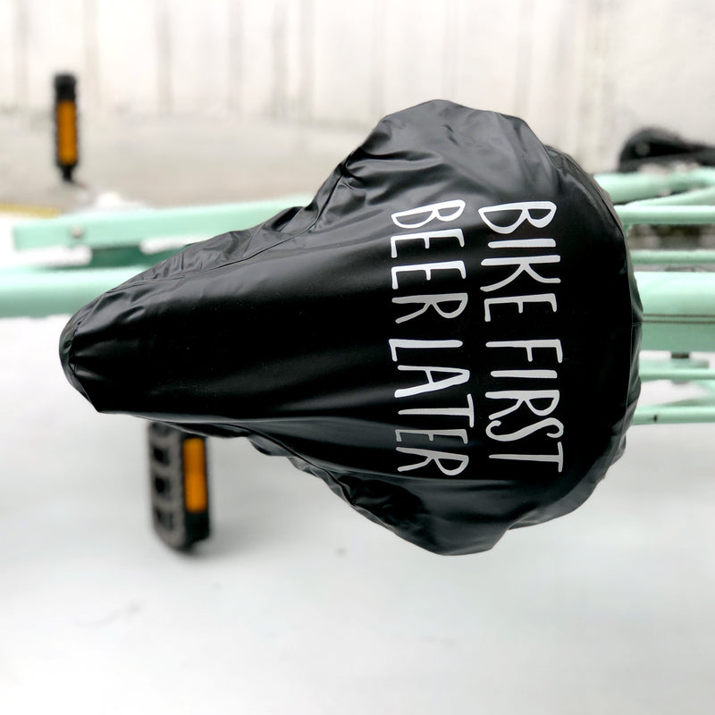 'Bike First Beer Later' Waterproof Bike Seat Cover | Kelly Connor Designs
