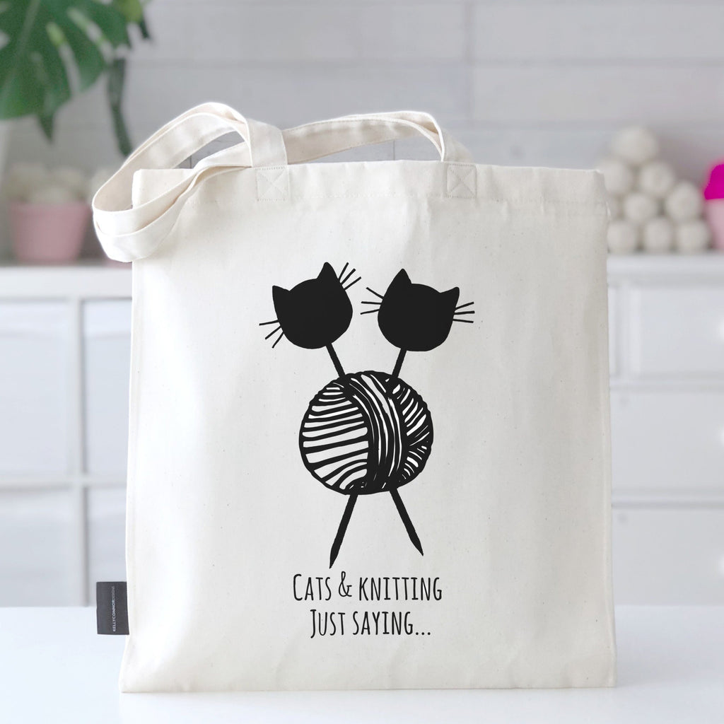'Cats and Knitting Just Saying...' Cat Lovers' Knitting Bag | Kelly Connor Designs