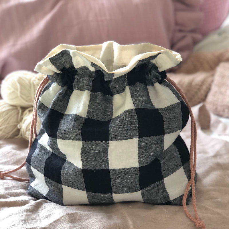 Gingham Linen knitting or crochet project bag