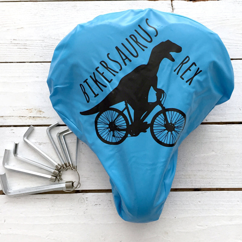'Bikersaurus Rex' Bike Seat Cover | Kelly Connor Designs