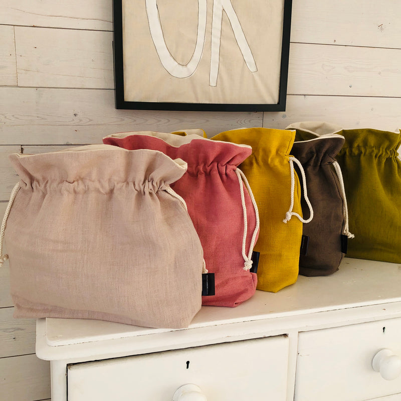 Linen Knitting Project Bag Wool Bag For Knitters or Crocheters | Kelly Connor Designs