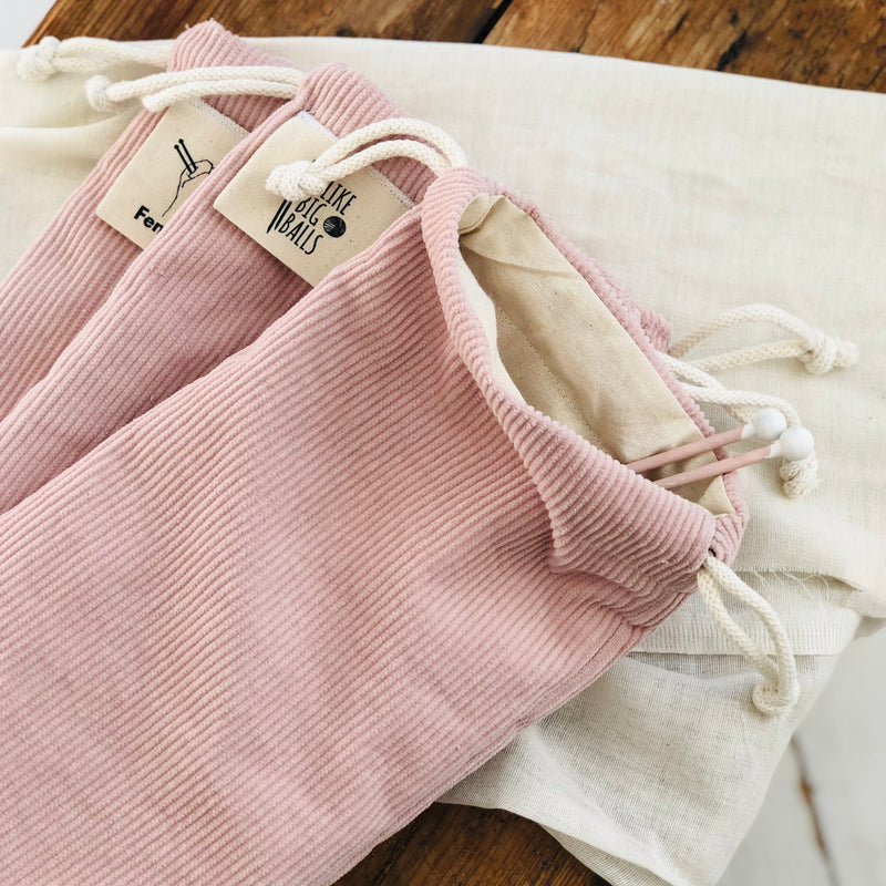 Knitting Needle Bag - Pink Corduroy Knitting Needle Case for Wool Collectors and Knitters | Kelly Connor Designs