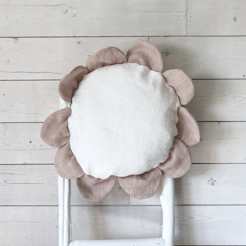 Pink and Natural White Linen Flower Cushions