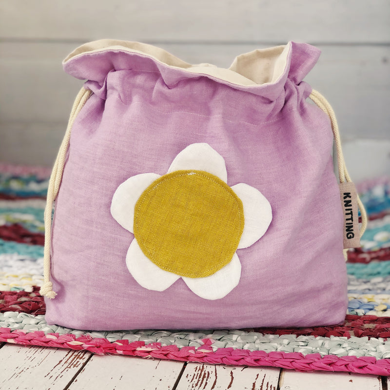 Floral Knitting Bag Linen knitting or crochet project bag