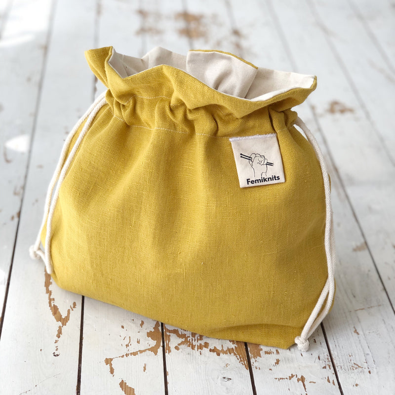Yellow Ochre Linen Knitting project bag
