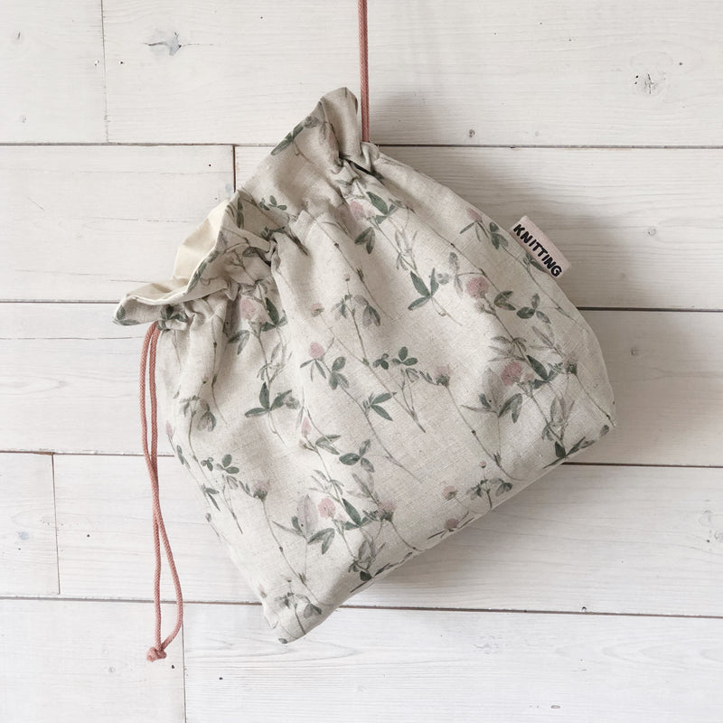 Floral Linen Knitting project bag
