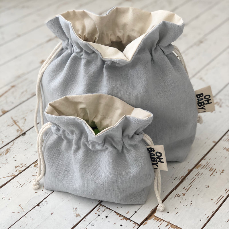 New Baby Gift Blue Linen Nursery Decor Baby Bag