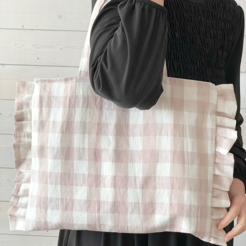 Pink Gingham Linen and Cotton Market Tote | Large Linen Tote | Beach Bag